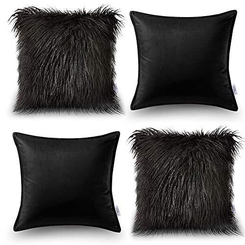 Oreiller Quatre pièces en coton de couleur unie Housse de coussin de canapé Salon Peluche Velvet Core Oreiller (Couleur : Noir, taille : 45 * 45cm)