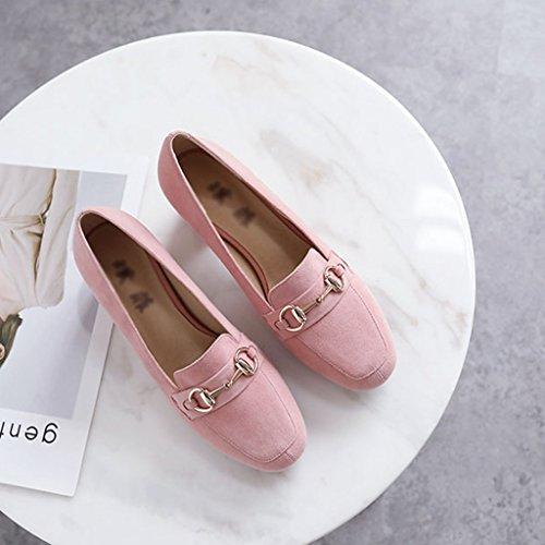 ZCJB Sandales Chaussures À Talons Grossiers Pour Femmes British Style Shallow Bouche Mi-talon Carré Tête Femmes Chaussures Chaussures De Sport