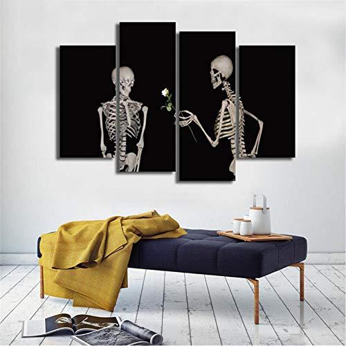 Ganjue Leinwand Wohnzimmer Bilder Malerei Wandkunst 4 Panel Schädel Halloween Rahmen Hd Gedruckt Moderne Modular Poster Wohnkultur A1010240x80cm*2 40 * 100cm*2