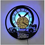 ZhangXF Retour vers Le Futur Horloge Murale pour Disque Vinyle, Horloge LED pour Disque Vinyle rétro de 12 Pouces, Meilleure Décoration de Cadeaux Sept Couleurs