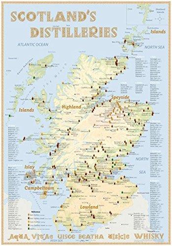 Preisvergleich Produktbild Whisky Distilleries Scotland - Poster 70x100cm Standard Edition: The scotisch Whisky Landscape in Overview