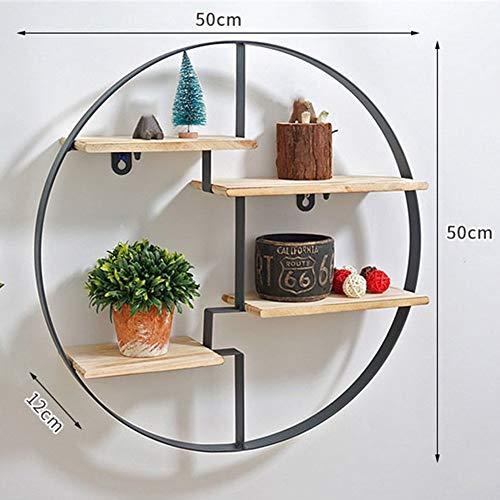 Wandregale schwimmende Regal Kreisform Bücherregal Wandbehang 4-Tier Lagerregal langlebig Holz Metall Wohnzimmer Industrie/Retro-Stil, 50 x 12 x 50 cm -