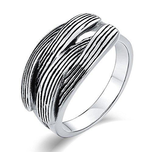 SonMo Stainless Steel Herren Ringe Herrenring Feder Partnerringe Breit Silber Signet Ring Band Ring Daumenring für Mann