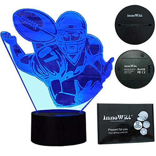 InnoWill American Football Geschenke Lampe USB und batteriebetriebene 7Colors