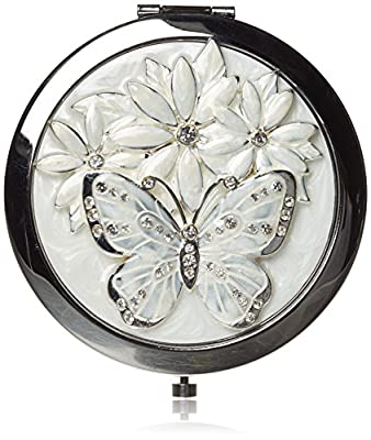 Sophia Silverplated And Epoxy Round Compact Mirror - Butterfly - cheap UK light shop.
