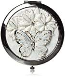 Sophia Silverplated And Epoxy Round Compact Mirror - Butterfly