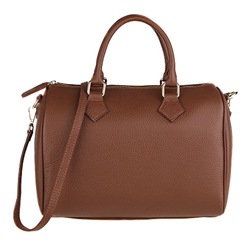 Chicca Borse Frau Handtasche Boston Tasche mit Schultergurt aus echtem Leder Made in Italy 30x23x18 Cm Braun