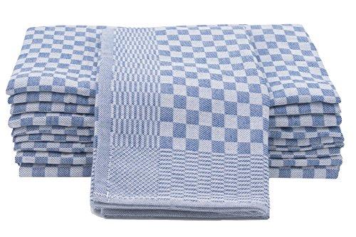 Zollner 10er-Set Geschirrtücher aus Baumwolle, weiß-blau-kariert, 46x90 cm