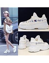QQWWEERRTT Moda Deportes Zapatos Mujer Nueva Harajuku Wild Zapatos Gruesos, 23.5, Blanco