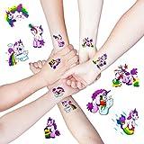 Oblique-Unique® Einhorn Sticker Tattoo I Trinkende lustige Einhörner I Feiern Party I farbenfrohe temporäre Tattoos