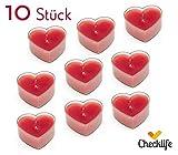 Checklife 90500 Teelicht Herz 10 er Set Herzkerzen Herzchen Kerzen