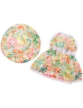 NON MagiDeal Dulce Vestido Floral con Sombrero para 18 Pulgadas American Girl Muñecas - Verde