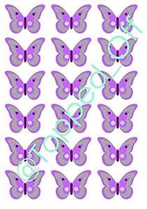 18 Silber & Lila Schmetterling essbaren Kuchendeckel Dekorationen