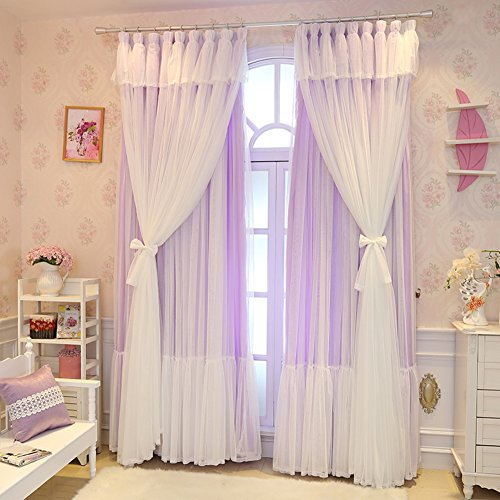 QTDJ Spitze Gardinen,semi Princess Voile Vorhang Für Hochzeitszimmer Lace Blackout Vorhänge Floral Panel Vorhänge-lila 250x210cm(98x83inch) (Floral Panel Hat)
