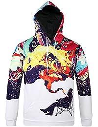 Zicac Herren Kapuzenpullover Sweatshirt 3D Digital Gedrucktes Muster Langarm Elegant Kapuzenjacke Slim Fit Frühling Herbst Hoodie