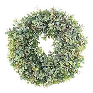 HUAESIN-Knstlicher-Kranz-Buchsbaum-Trkranz-Buchskranz-Grn-Krnze-Fruehling-Kranz-Dekokranz-Ganzjhrig-Deko-fr-Tr-Weihnachten-Kamin-Wand-Fenster-Hochzeit-Outdoor-185-Zoll