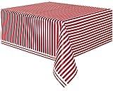 Generique - Rot-weiße gestreifte Tischdecke aus Plastik 137 x 274 cm.