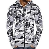 TIFIY Herren Herbst Camouflage Reißverschluss Kapuzenpullover Sweatshirt Outwear Tops Distressed Basic Sport Bluse