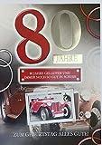 A4 XXL Geburtstagskarte Herren zum 80.: Oldtimer - Gut in Schuss