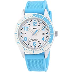 Timex Trend Unisex Quartz Watch with White Dial Analogue Display and Blue Resin Strap T2P006PF