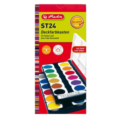 Herlitz Schulmalfarben, 24 Farben inklusive Deckweiß