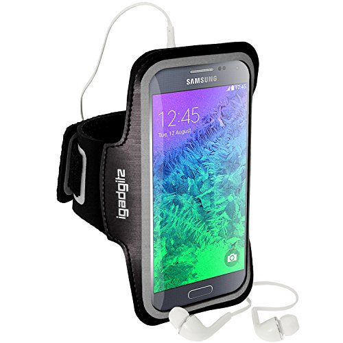 igadgitz Reflektierenden Anti-Rutsch Schwarz Sports Jogging Armband Laufen Fitness Oberarmtasche für Samsung Galaxy Alpha SM-G850 Mit Schlüsselfach