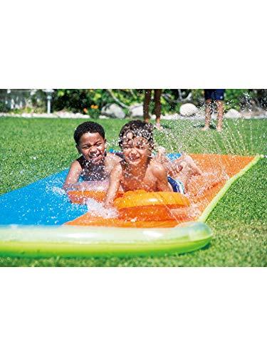 Water Slide Double Lane Inflatable Sprinkler Slip Slide 549 cm x 145 cm Children Summer Garden Outdoor Fun Aqua Pool