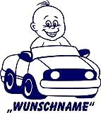 INDIGOS UG - Babystrampler / Strampler 045 mit Wunschname / Wunschtext weiß 50/56