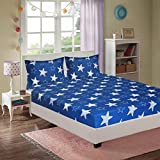 C&G 120 TC Microfiber Double 3D Printed Bedsheet (Pack of 1,Blue)