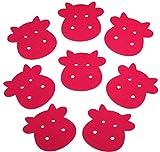 8x Kuh Deko Untersetzer Filz Rosa Pink 10x10x0,3cm Vegan