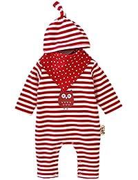 GudeHome mameluco bebes ropa +Sombrero+baberos para bebés nacido Romper ropa muñeca largos ropa de niño de la manga