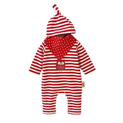 Vine Neugeborenes Baby 3 Pcs Strampler Spielanzug Baumwolle Langarm Baby Outfits Unisex Kleinkinder Streifen Jumpsuits mit Hut & Geifer-Lätzchen rot (Baby-kleidung Bio-baumwolle)