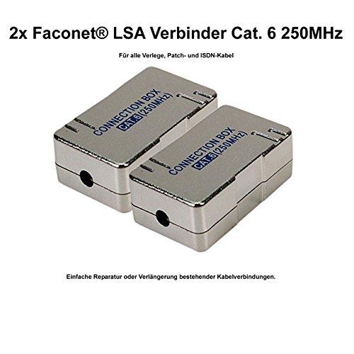 2x Faconet® LSA Verbinder Cat.6 zum Verbinden / Reparieren von Netzwerk, Internet oder ISDN Kabel. LSA Verbindungmodul im geschirmten Gehäuse