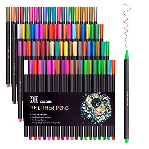 80 colores Fineliner Color Pen Set 0.4mm Sketch Drawing
