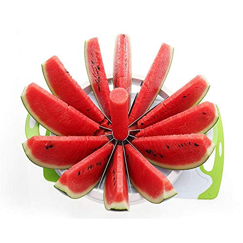Fruit Slicer Cutter Große Wassermelonen-Schneidemaschine mit Komfort-Gummigriff-Haushalts-Edelstahl-Cantaloupe-Ananas-Zitrone-orange Brot-Schneidemaschine