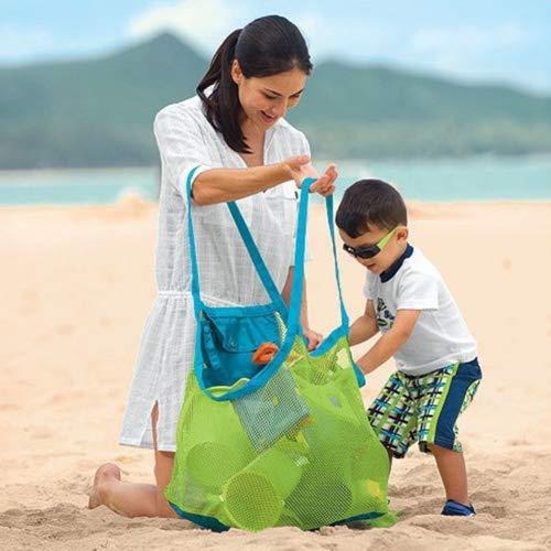 Große Mesh Tasche, Spielzeug Tasche für die Kleidung Sand Away Beach Bag für Indoor Outdoor Spielzeug Werkzeug Organisation, grün