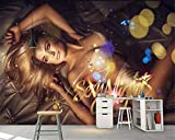 Carta Da Parati,Custom 4D Sfondo Murale,Donna Sexy Bellezza Murale Living Room Bedroom Affresco Photo Tv Sofa Hotel Nightclub Ktv Sfondo Parete Di Seta Dipinto Wall Papers Poster,250Cm(H)×360Cm(W)