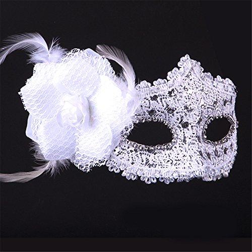 Halloween Maske Lace Make-up Tanz Show Gemalte Federn Halbes Gesicht Schöne Prinzessin Masken,Weiß