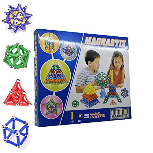 Magnetic Building Construction Set Blocks Stack Toys for Kids High Magnetic Toys for Children Boys 228-Piece FUCNEN Creativity Educational Toys for 5+ Year Olds Great Gifts for Children