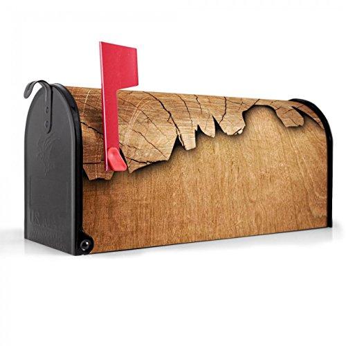 BANJADO US Mailbox | Amerikanischer Briefkasten 51x22x17cm | Letterbox Stahl schwarz | mit Motiv Holz, Briefkasten:mit schwarzem Standfuß