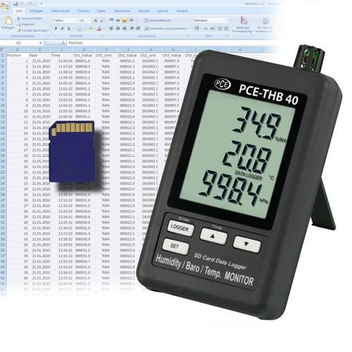 PCE Instruments Air Humidity Meter PCE-THB 40 diverse measuring units