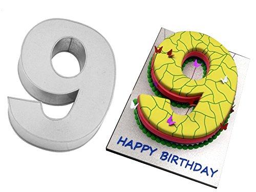 EURO TINS Teglia grande numero NOVE per dolce di compleanno o ricorrenza (misura 35.5 x 25.4cm - profondità