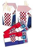 EM-SET Motiv: KROATIEN FAHNE / FLAGGE - 2x cardbox (Kartenhülle, Ausweishülle, Führerscheinhülle) UND 2x indo slipp (Überzieher für Zigarettenschachteln) im SET