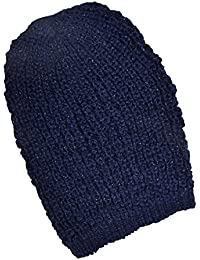 Ladies Fashionable Navy Knitted Slouch Hat With Light Catching Glittering Fibres