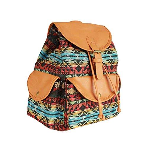 Tancurry casual Canvas Damen Herren Rucksack Daypack Backpacks Wanderrucksack Schulrucksack Vintage Rucksack Schulrucksack mit Großer Kapazität blau und weißen Streifen