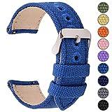 Fullmosa 14mm 16mm 18mm 20mm 22mm 24mm Bracelet Montre à Dégagement Rapide, 8 Couleurs Bracelet de Montre Militaire en Toile pour Hommes Femmes, 14mm Bleu Saphir