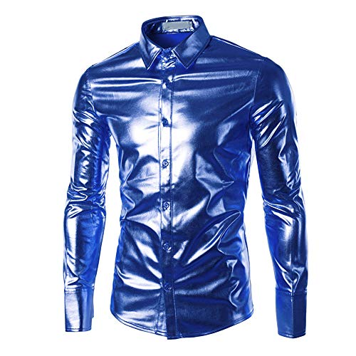 Geilisungren Herren Hemd Metallic Glänzend Langarmshirt Mode Bügelfreie Glitzer Slim Fit Umlegekragen Knöpfen Hemden Kostüm für Nightclub Party Tanzen Disco Halloween Cosplay