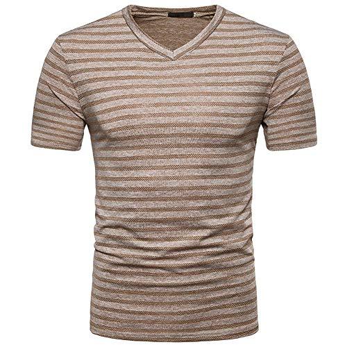 ZISIJI Herren T-Shirt mit V-Ausschnitt/Herren T-Shirt mit V-Ausschnitt aus Baumwolle/Herren Kurzarm,Khaki,M -