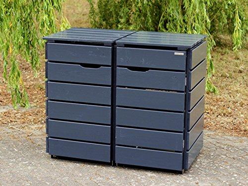2er Mülltonnenbox / Mülltonnenverkleidung 240 L Holz, Deckend Geölt Anthrazit Grau
