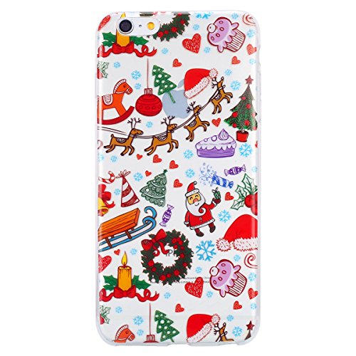 EUWLY Cover per iPhone 7/iPhone 8 (4.7), EUWLY Custodia per iPhone 7/iPhone 8 (4.7) Silicone Trasparente TPU Case Xmas Christmas Natale Flessibile Morbido Custodia Cover Ultra Sottile Soft TPU Gel G Christmas